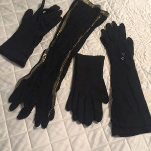 Vintage black gloves, 4 pairs
